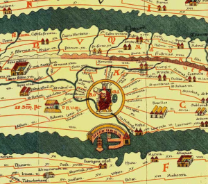 Utsnitt av Tabula Peutingeriana, veikart over Romerriket fra 500-tallet