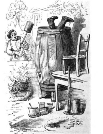 på hodet i tønne 1844