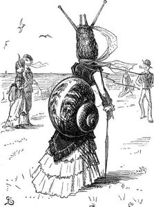 Caricature of Bustle as snail, Punch, 20. augsut 1870