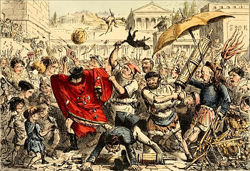 slåsskamp, folkehop