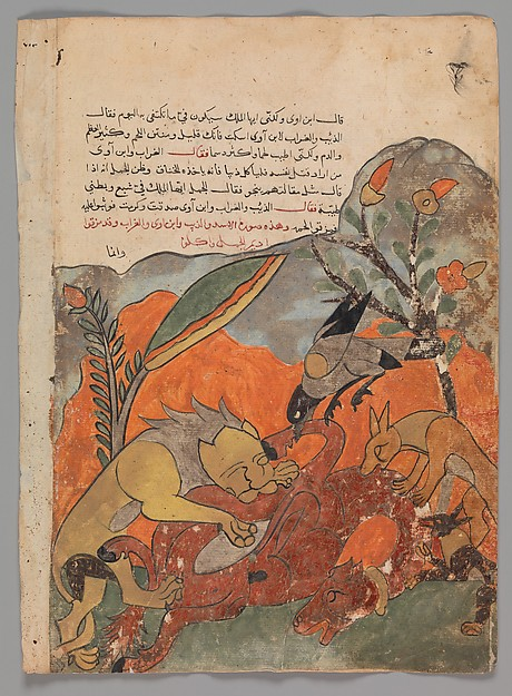 the-attack-on-the-camel-by-the-lion-crow-wolf-and-jackal-folio-fra-kalila-wa-dimna-1700-tallet